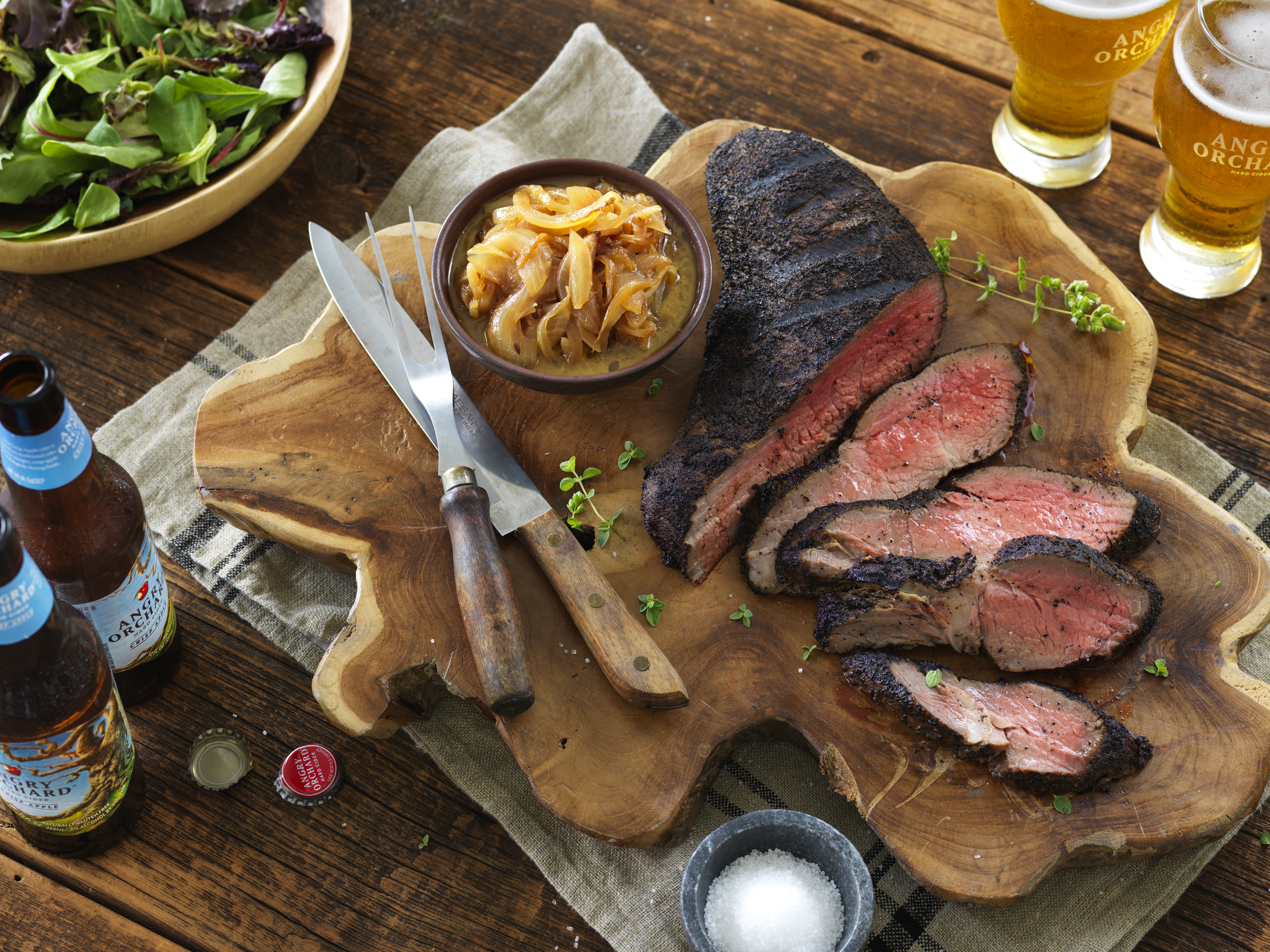 Angry Orchard's – Spice Rubbed Tri-Tip Steak with Cider Onion Relish