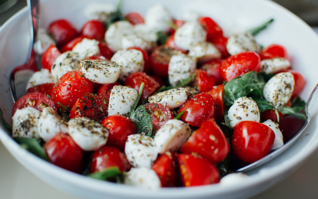 Marinated Mozzarella Cherry Tomato Basil Salad